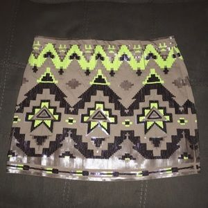 Express Sequin Aztec Pattern Skirt